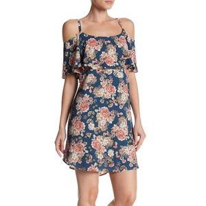 Bobeau Dress Shift Flowers Cold Shoulder Straps